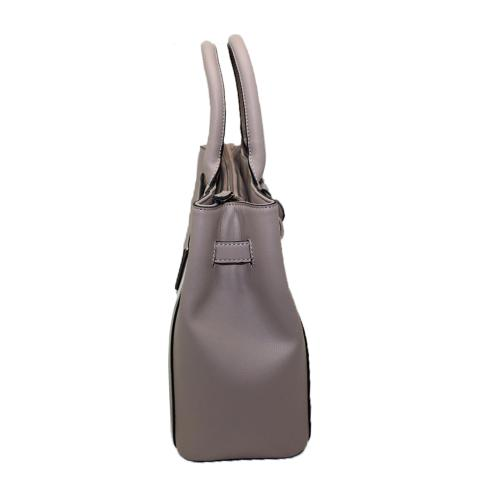 The beige color shopper bag features top handle,front knitted bag detail and inside zip pockets.which can put the laptap inside,it is also a good style for work.