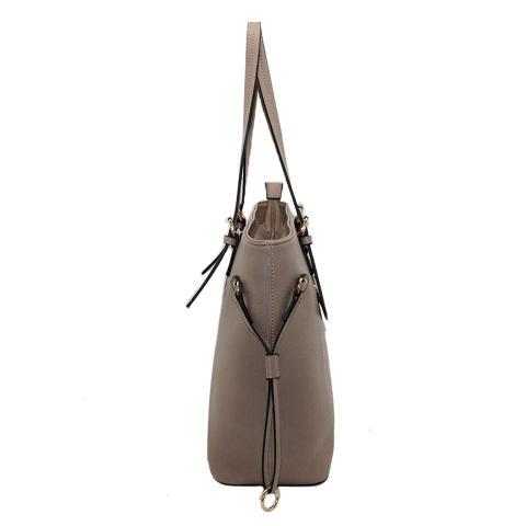 The beige tote bags with adjustable handles, ring and drawstring shopper bags from two sides, black painting edges,top zipper pocket with inside slip pocket of convenient carrying options.