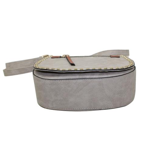 Wholesale women fashion leather cross body bags have more studs all around flap,and PU tab zip pocket on flap. Inside with two slip pockets and one zip pocket.