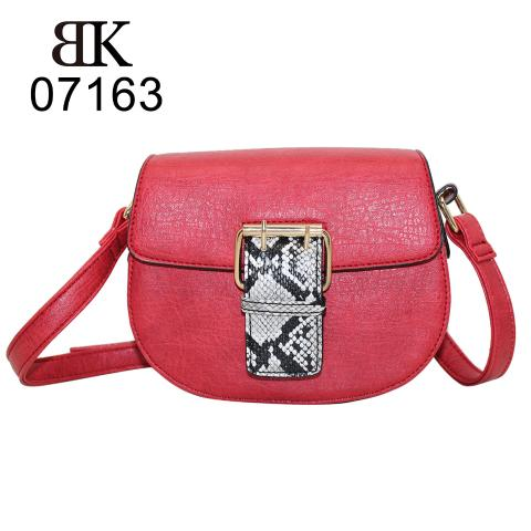 This red leather shoulder bags with buckle on flap, two sides with python printing PU material,inner compartments have two open pocket with one zipper pocket.