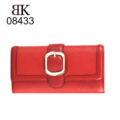 The flap-top style has been crafted from smooth PU leather and features the metal buckle detail on the front of the design. Classic red buckle wallet also comes with multiple credit card ID holders and a coin zipped pouch.