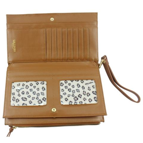 Crafted from faux leather material in a multicolor, a main compartment and multiple interior card slots to carry all of your cards, simple and stylish.