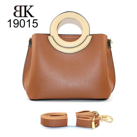 Trendy round handles brown tote bag with strap