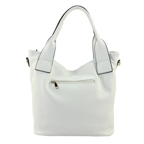 Crafted in pu leather materials in a white and the fashionable bag features 2 zip pockets on the front, exterior zip pocket on the back adjustable strap, top zip main pocket and light gold hardware.