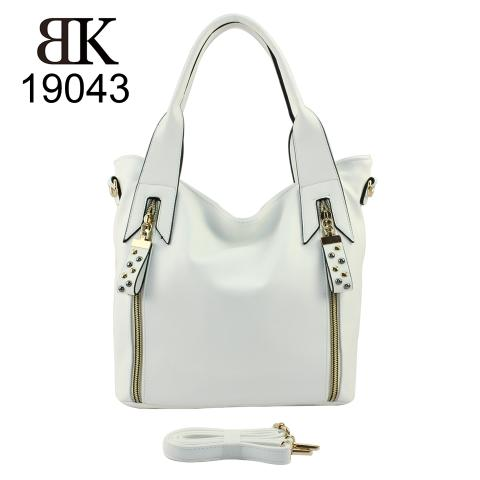 Popular white tote handbag with zippers for women in 2019