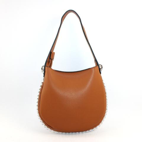 The fashion hobo bag features two ways to take it, silver hardware and round rivets to decorate it. Exquisite design comes with silver chain, ample room to carry all of your necessities.