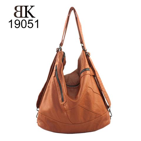 Casual adjustable strap brown tote bags with zippers