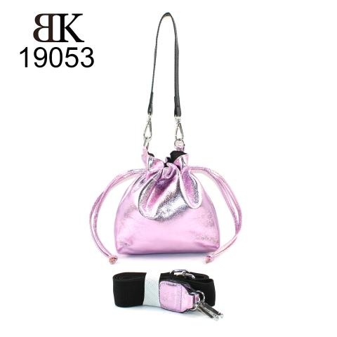 The shiny shoulder bag features silver hardware, drawstring flastening, adjustable strap,It is a practical and convenient bag.