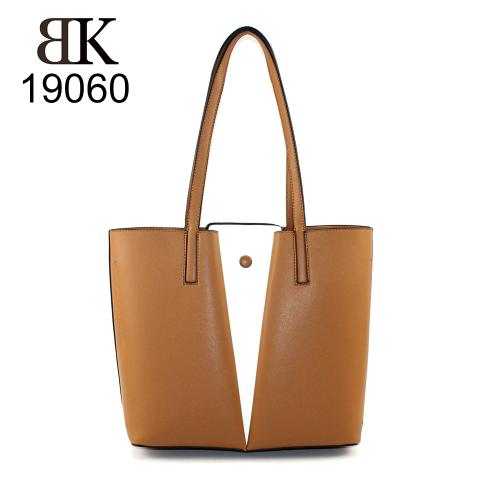 Popular OEM brown and white tote bag for women