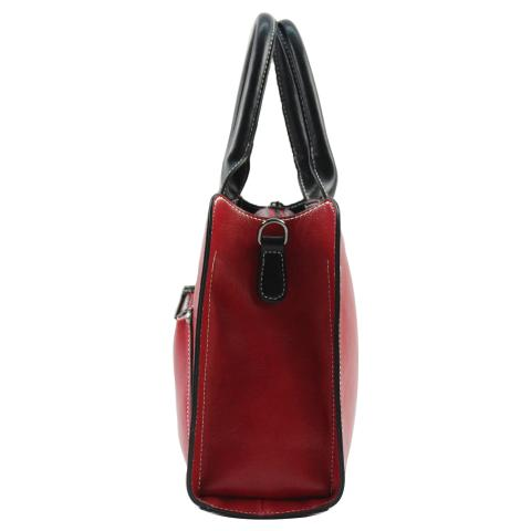 The timeless red tote bag match all of your wardrobe, double handles and detachable adjustable shoulder strap, it also come with an exterior zipper pocket to carry your make-up or little things.