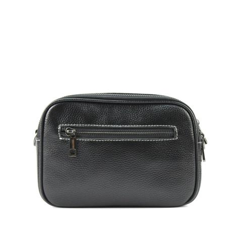 The portable black shoulder bag features clear white thread, gun hardware, adjustable strap and top zip closure.