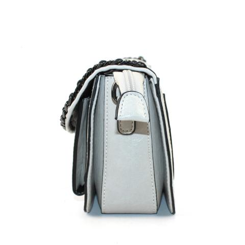 The exquisite gray shoulder bag features gun hardware, detachable strap, flap with magnetic snap and chains trim, zip pocket under flap.