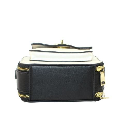 The small chain bag features exterior pocket with metal lock, light gold hardwrae and top zip fastening.
