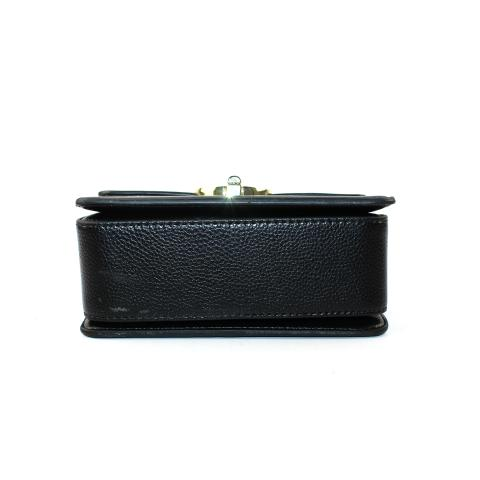 Crafted from pebble and pu leather materials in black and beige, light gold hardware, flap with magnetic snap, pocket under flap.