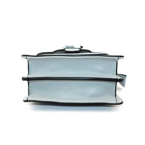 The square small bag features flap with magnetic snap, light gold hardware, tri-color top handle and adjustable strap.