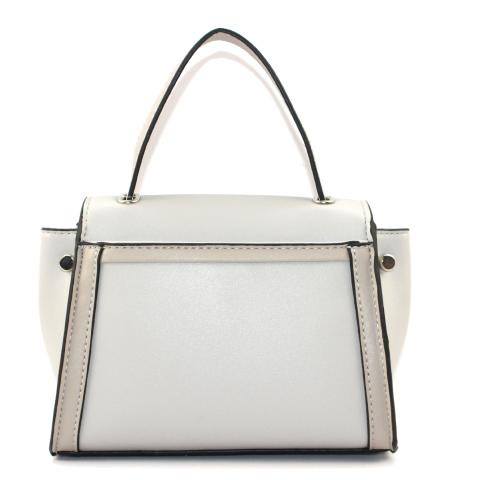 The middle tote bag features silver hardware, detachable strap, flap with magnetic snap, pocket under flap.