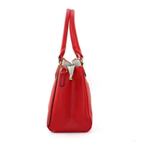 The red tote bags feature top handles, adjustable strap, light gold hardware and top zip closure.