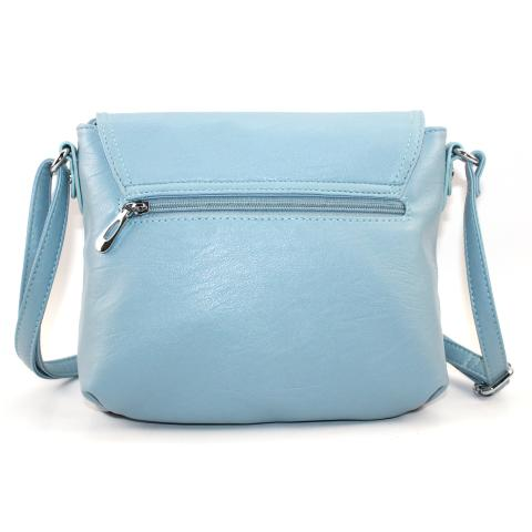 Crafted from pu leather materials in a blue and features flap with zip pocket and magnetic snap, main pocket under flap, adjustable strap and silver hardware.