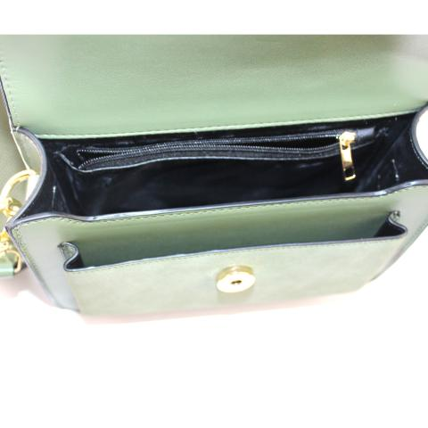 The olive shoulder bag features detachable strap, flap with magnetic snap, pocket under flap and light gold hardware.