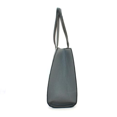 Crafted from pebble materials in a gray and features exterior pocket on the front, black top handles, it is perfect for work.
