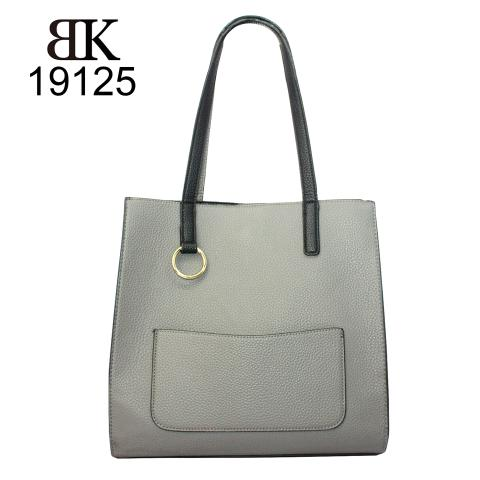 Casual pebble gray tote bag with light gold hardware