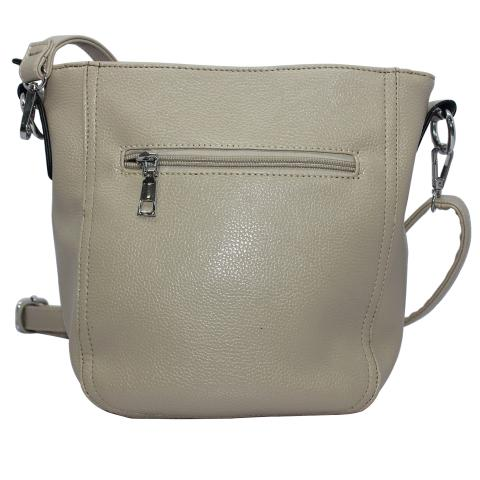 Simple and stylish, crafted from soft materials in a gray, silver tone hardware. Features a shoulder strap and an exterior zipper pocket, inner pocket and magnetic snap fastener.