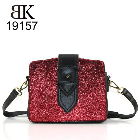 New fashion red shinny glitter shoulder bag for women