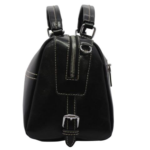 This black tote features round top handles, a detachable and adjustable shoulder strap, a top zip fastening, silver-tone hardware and an internal zipped pocket