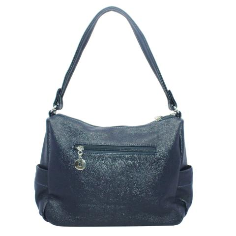 Look material is adorned with silver hardware and two zipped pockets on front, top zipped pocket, an exterior pocket on back and an adjustable cross body strap.