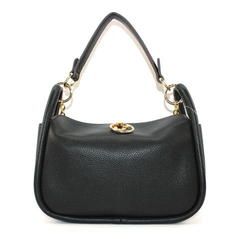 The trendy hobo bags features top zip closure, light gold tone hardware and metal chain. Specious interior of handbag includes slip wall pocket to carry key, phone or makeup, crafted from pebble pu leather materials in a black.