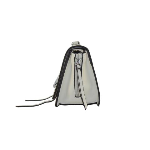 The fashion designer bag with a carry-on strap. Crafted from faux leather material in a off white. Featuring flap with magnetic snap closure, pocket under flap, and six rings interlocked on front.