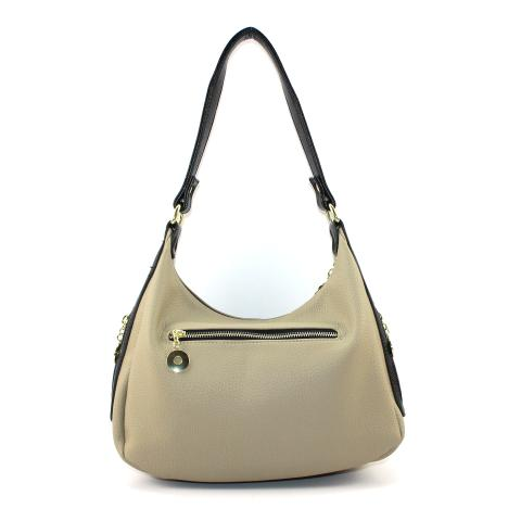 The fresh khaki hobo bags features top zip closure, light gold tone hardware and adjustable detachable strap. It also come with an exterior zip pocket to carry phone, makeup and key. The interior is divided into 3 compartments, the central separator features a zip pocket for coin.