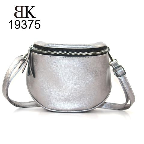 Classic silver belt bag with exterior pocket OEM&ODM factory