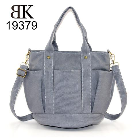 Welcomed practical fresh gray canvas tote handbag for girls