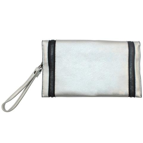 The silver shoulder bag comes with double long black zips, featuring silver tone hardware and top zip, what a little cute bag!