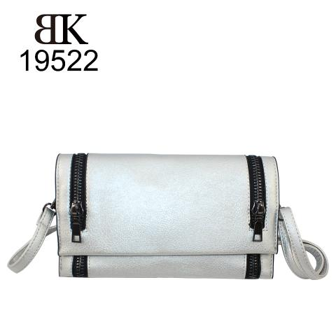 Silver slim clutch cross body essentials for women