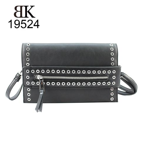 Hot sale light handy slim clutches with silver eyelets