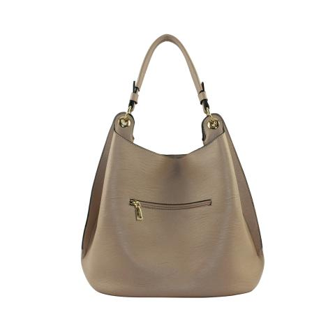 Featuring gold hardware, top zipped pocket and an exterior zipper pocket, suitable as on everyday office tote or weekend carryall.