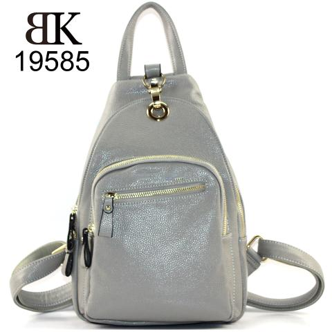 Stylish gray pebble faux leather multifunction backpack for work