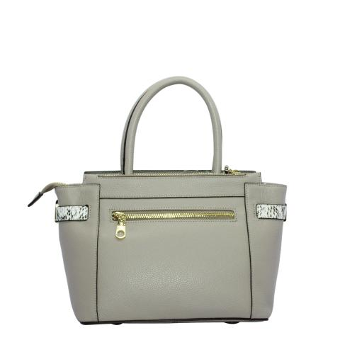 The stylish handbag comes with double handles, an exterior zipped pocket and gold hardware, detachable crossbody strap and zipper with snake-shaped detail on front.