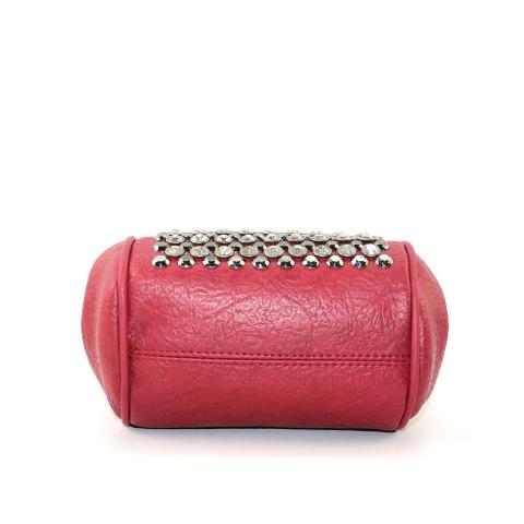 Crafted from faux leather materials in a wine color, the fashion exquisite clutches feature top clips closure, gun hardware, adjustable strap and glitter diamonds on the front.