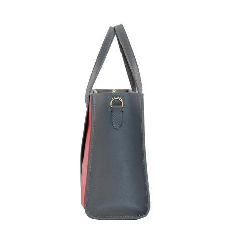 Featuring roomy interior that can accommodate a continental wallet, double strap handles, center zip divider pocket, contrast stitching, detachable shoulder strap, outer slip pockets, and gold tone hardware.