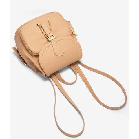 Featuring flap top magnetic snap closure with buckle detail and outer pocket, single handle, internal zip pocket, adjustable shoulder strap and gold tone hardware.