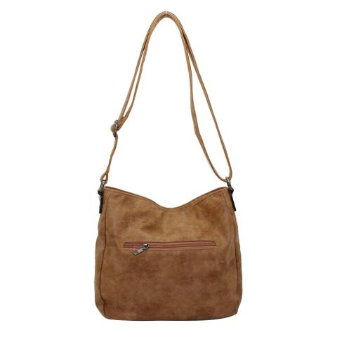 Optical large laser cutting shoulder bag seatures gunmetal hardware, a front slant zipper.top with zipper closure, a long strap, Lined interior with pocket.