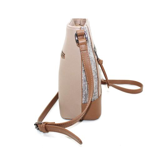 Refresh your accessories with this stylish cross-body bag. Made from smooth leather and canvas,carried by the shoulder strap, it houses a spacious compartment with two exterior slip pockets and one zipper pocket.