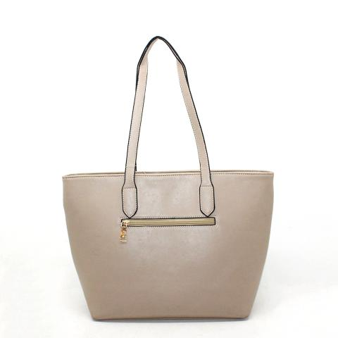 This large shopper bag from Principles is perfect for carrying your daily essentials. Crafted from soft smooth and knited leather, it s accented with stabstitch detailing and a metal bar in front, top zipper closer, inside with one zip pocket, two slip pockets.