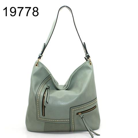 Fashion light green hobo bag with small revits and zipper in front