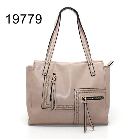 Beige tote bag with small revits and zipper in front