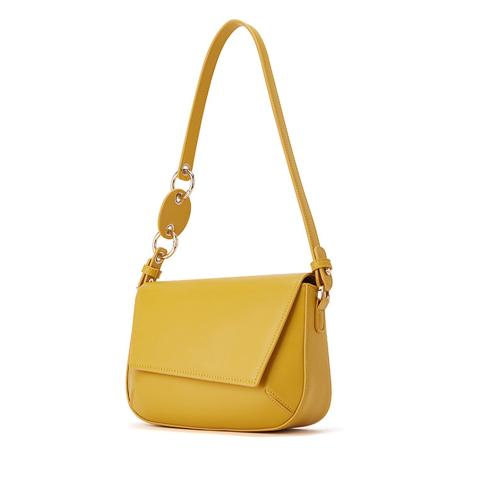 The perfect yellow crossbody bag is designed in a irregular flap,Interior  with Back zip Pocket and Front Slip Pocket.