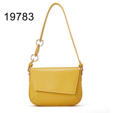 2021 design yellow polished leather crossbody bags irregular flap